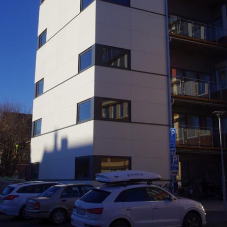 Fasadskiva, Fasadlaminat LamiFacade, Lamiroc, Fasad, Påbyggnad, Umeå